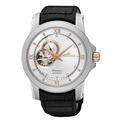 【SEIKO】Premier 典藏風格鏤空設計機械腕錶(銀x皮帶/4R39-00P0KS)