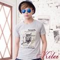 【Kilei】貓頭鷹圖畫棉質T恤XA1442-02(簡約灰)賠售特價