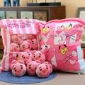 日本樱花一大袋小兔子饼毛绒玩具创意零食抱枕ins网红少女心玩偶 布.朗.熊抱枕 50*36厘米(内装8个) 红.豹抱枕
