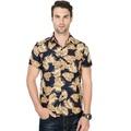 ดอกไม้ผู้ชายเสื้อเชิ้ตแขนสั้นเสื้อเชิ้ตผู้ชายสังคมเสื้อผ้าผู้ชายเสื้อใบสีเหลือง Feather พิมพ์ Slim ฤดูร้อนฮาวาย