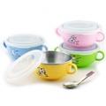 [老王五金] 開發票 斑馬牌 雙耳 兒童碗 塑膠蓋  學習碗 附耳 隔熱碗 小碗 彩色碗 三色碗 304不銹鋼