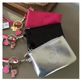 vs victoria secret pink nation dog patent faux leather lanyard pass coin purse holder ezlink work student heart key charms stripe