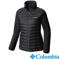 【Columbia哥倫比亞】防潑拼接羽絨外套-黑色 UWR11630BK