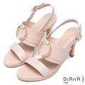 DIANA 名媛氣質--精湛工藝圓環真皮涼跟鞋-粉 7027-30