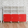 【藤立方】組合2層6格收納置物架(3門板+3隔板+附輪)-白色/紅色-DIY
