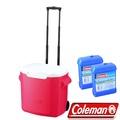 Coleman 0028粉紅 26.5L拖輪置物型冰桶+冷媒2入 行動冰箱/保冰袋/保冷袋