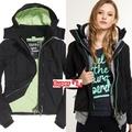 「i」【現貨】極度乾燥 Superdry 黑/薄荷綠 Arctic Windcheater三層拉鍊 鋪綿 連帽風衣 外套