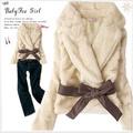[艾菲塔] 秋冬新款品奢華仿兔毛皮草外套 【配皮带】