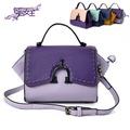 【88Queen❤包包女王】時尚馬卡龍撞色迷你蝙蝠包-紫色