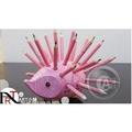 『ART小舖』捷克KOH-I-NOOR 手工木製可愛小刺蝟造型筆筒-粉紅精靈/粉紅色 附24色油性彩色鉛筆