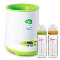 【奇買親子購物網】Nac Nac 微電腦多功能溫奶器+貝親PIGEON寬口母乳實感玻璃奶瓶240ml(橘/綠)