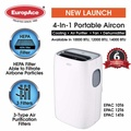 EuropAce EPAC 12T6 12k BTU Portable Aircon with HEAP and CARBON Filter