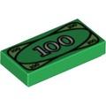 Lego樂高 3069 綠色 鈔票印刷平板 Tile 1x2 CashPattern 4295260