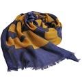 MOSCHINO 品牌字母大圖騰LOGO高質感薄羊毛圍巾(單寧藍/黃字)
