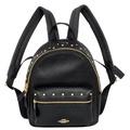COACH黑色鉚釘荔枝紋全皮小款後背包