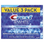 CREST 3D White Whitening Toothpaste, Arctic Fresh, 4.8 oz, 3 Count