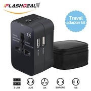 iFlashDeal Universal Travel Power Adapter, International Wall Charger Adaptor Travel Plug for UK/USA/EU/AUS 200 Countries, With 2 USB Charging Ports