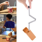 niceEshop Foldable Straw Collapsible Reusable Straw Stainless Portable Travel Outdoor Household