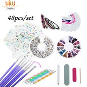 Umiwe 48 Acrylic Brush Nail Art Tips Set Kit,Combo Set Professional DIY UV Gel Nail Art Kit Brush Buffer Tool Nail Tips Glue Acrylic Set.Nails Sponges for Color Fade Manicure. - intl