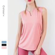 Sports vest women's loose-fitting gym wear sleeveless running quick-dry T-shirt short-sleeved hooded shirt show lean yoga top.