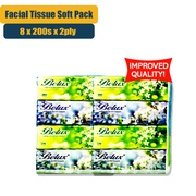 [Improved Quality] Belux Facial Tissue Soft Pack - 8 Pack x 200 Sheet