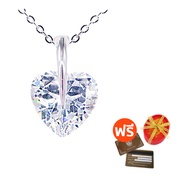 Tips Gallery สร้อยคอพร้อมจี้ เงินแท้ 925 หุ้ม ทองคำ ขาว เพชร รัสเซีย 5 กะรัต รุ่น Clairs Heart Design TNS047