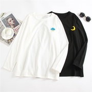 [Xiaozhainv]korean style ulzzang - new women's korean style loose weather pattern embroidery long-sleeved bottomshirt t-shirt top