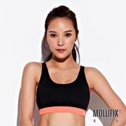 Mollifix瑪莉菲絲 小交叉美背運動內衣 (黑+橘粉)