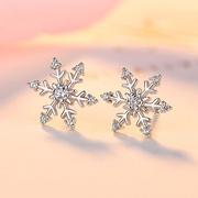 """Ifeeler"" Korean version of the new 925 silver snowflake earring pavé-set diamond creative female zircon earrings students ' lap earrings"