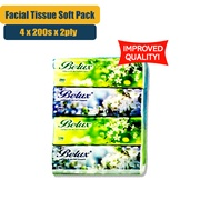 [Improved Quality] Belux Facial Tissue Soft Pack - 4 Pack x 200 Sheet