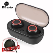 Wiresto True Wireless Earbuds Mini Bluetooth Earphone Stereo Headphone Bluetooth 5.0 Sport Earpiece Small Invisilble Headset with Microphone Free Case Box Charging Case