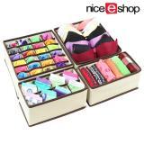 niceEshop Drawer Dividers Closet Organizers Bra Underwear Storage Boxes (Off White,Set Of 4)
