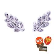 Tips Gallery ต่างหู เงินแท้ 925 หุ้ม ทองคำ ขาว 18K เพชร 0.54 กะรัต รุ่น Olive Coronation Design TES143 พร้อมกล่อง