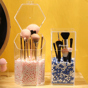 pearl make-up brush barrel box storage barrel dust-proof with cover makeup brush cosmetics storage box eyebrow brush storage brush barrel TB