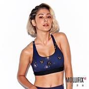 Mollifix瑪莉菲絲 俐落Y背下擺織帶運動內衣 (豹紋藍)