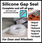 3meters Silicon Door Window Gap Sealer Translucent - 35 and 45 mm width - Seals Prevents Dust Sound Pest - 3M Tape