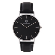 Mercedes-Benz 賓士 時尚簡約紳士皮革手錶 - 黑銀黑