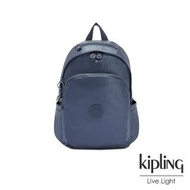 【KIPLING】個性霧灰藍上方拉鍊後背包-DELIA