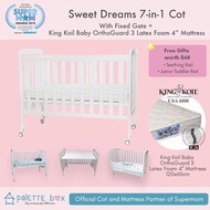 Palette Box Sweet Dreams 7-in-1 Convertible Baby Cot + King Koil Baby Orthoguard 3 Mattress (ETA 20 July)