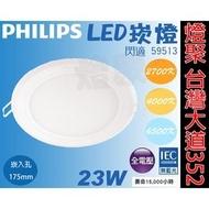 【燈聚台灣大道352】PHILIPS 飛利浦 LED崁燈 全電壓 23W 閃適 59513 崁入孔175mm 附驅動器