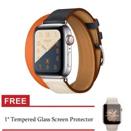New Double Contrast Color Hermès Strap for Apple Watch Band Series 5/4 Genuine Leather Wrist Strap Colorful Bracelet for iWatch 42mm/44mm Series 5/4/3/2/1