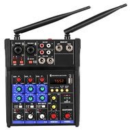 4 Channel Audio Mixer Console with Wireless Microphone Sound Mixing with Bluetooth USB Mini Dj Mixer