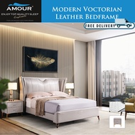 AMOUR MODERN VICTORIAN Genuine Leather Bed Frame Queen Size/King Size