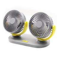 【超涼升級版!】USB雙頭車載風扇 桌面宿舍 靜音電風扇 便攜式大風力風扇 桌上型風扇