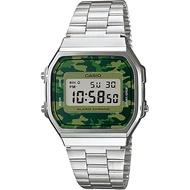 Casio Digital นาฬิกาข้อมือ ลายพรางทหาร สายสแตนเลส รุ่น A168WEC