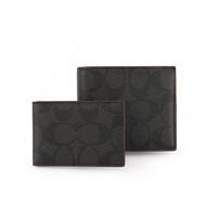 COACH 短夾 PVC LOGO皮革短夾(附證件夾)(黑灰)(紅邊) F25519