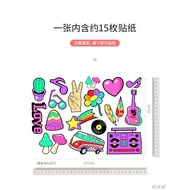 【韓香閣】嘻哈搖滾樂器音符行李箱貼紙旅行拉桿箱吉他防水貼畫潮牌個性貼紙
