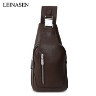LEINASEN Solid Color PU Leather Male Chest Bag