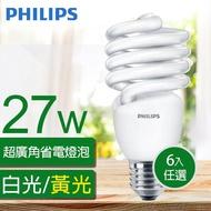 【Philips 飛利浦】Tornado 螺旋省電燈泡T2 27W E27 120V(6入組)