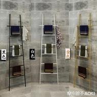北歐梯子毛巾架落地式免打孔衛生間置物架浴室架收納架掛衣架黑色 青木鋪子